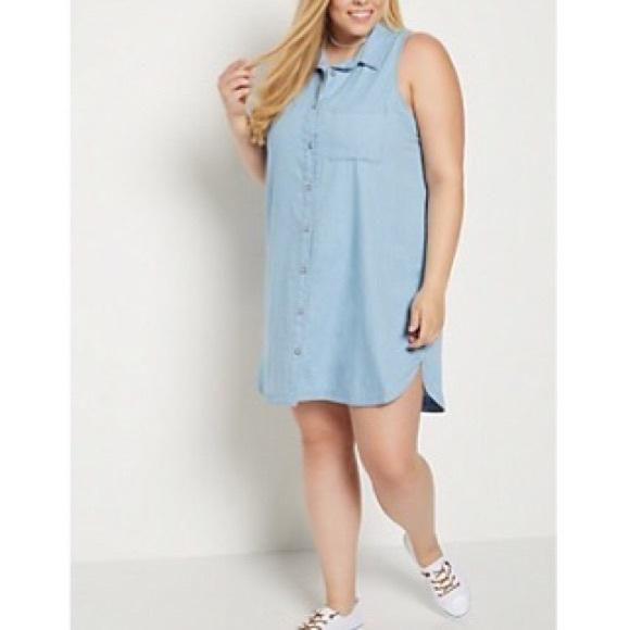 Rue21 Dresses | Sale 2x Button Down Jean Shirt Dress Plus Size ...